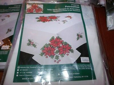 """Tobin Stamped Cross Stitch Embroidery Tablecloth POINSETTIAS 50"""" x 70"""""""
