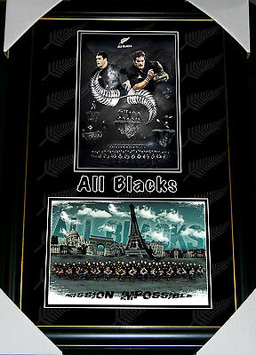 All Blacks New Zealand Rugby Union World Cup Champions Kiwi Double Print Framed
