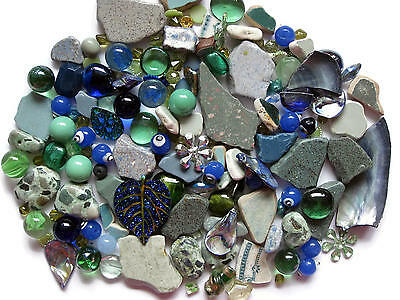 Mosaic Pieces Tile Beach Pottery Beads Embellishment Marbles 160+ Pc Green Blue