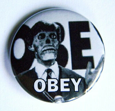 """Obey They Live Roddy Piper Liberal Media Pinback Button - 1.5"""" - Free Shipping"""