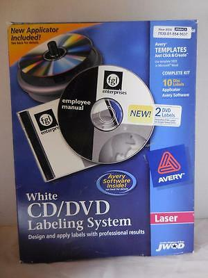 Avery White CD/DVD Labeling System 10 Disc Labels  Laser Templates  New