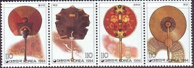 South Korea 1994 Traditional Fans set of 4 in strip MNH