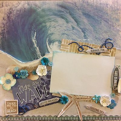 handmade scrapbook page 12 X 12 Ride The Waves ...beach Layout
