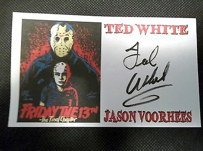 """""""Friday The 13th The Final Chapter"""" Ted White """"JASON"""" Autographed 3x5 Index Card"""