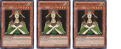 3XGoddess with the Third Eye 3 X Goddess of Whim GLD4-EN004 limited Mint Yugioh
