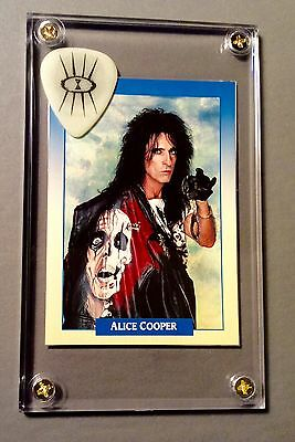 Great Alice Cooper glow guitar pick / trading card display w/ stand!!!  Last one