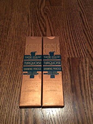 18 EAGLE TURQUOISE F VINTAGE LEAD DRAWING PENCILS Chemi Sealed 2 BOXES