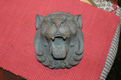 Vintage Plaster Angry Lion Head Gargoyle Bust Wall Plaque-Gothic Architectural