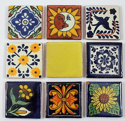 """Colorful Hand Painted 2"""" Mexican Terra Cotta Tiles Lot of 9"""