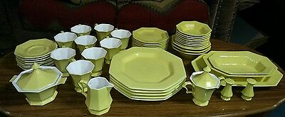 HUGE 49 Pc Independence Ironstone Japan Daffodil Yellow Octagonal Dinnerware Set