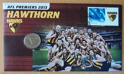 Afl Premiers Hawthorn 2013 Pnc Stamp & $1 Coin Cover
