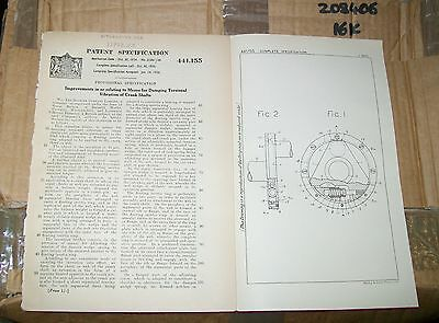 Crank Shafts Patent. Daimler & Laurence Pomeroy, Coventry. 1936