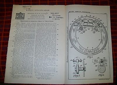 Vehicle Brakes Adjustment Patent. Triumph Cycle Company & Parnell,coventry.1928