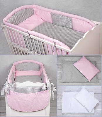 6 Pcs Piece Luxury Cot Cotbed Bedding Nursery Set Duvet Allround Long Bumper