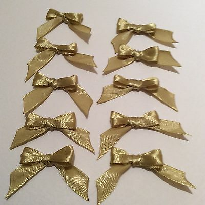 30 Pale Gold 10mm Ribbon bows �� for card making/scrap booking help charity