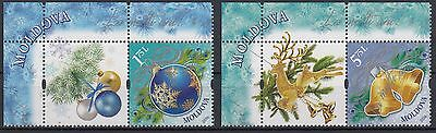Moldova 2016. Merry Christmas.New Year. Set 2 stamps with tabs. MNH