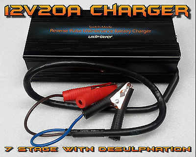 Ultipower 12V 20A Battery Charger Portable Caravan Boat 7 Stage inc desulphation