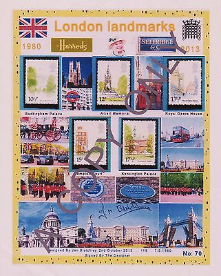 GB 1980 .A4 approx DESIGN SHEET.  LONDON LANDMARKS  & FREE GIFTS (70)
