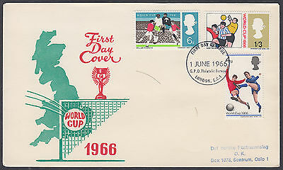 1966 World Cup scarce Map FDC; London Bureau FDI