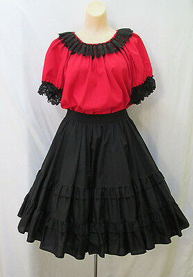 Partners Please Complete 4-Pc Square Dance Costume Red & Black Womens M