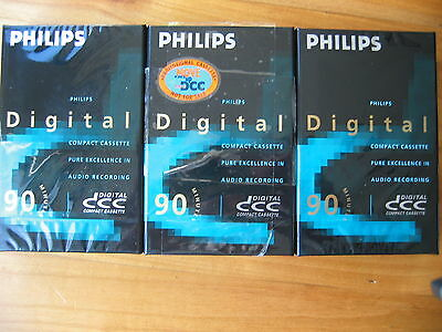 3 Philips DCC Tapes C90  NEW and sealed