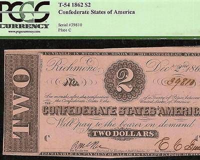 1862 $2 Dollar Bill Confederate States Currency Civil War Note Money T-54 Pcgs