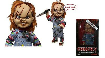 """Child's Play 15"""" Inch Mega Scale Scarred Talking Chucky Doll Figure - Mezco 2015"""