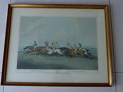 1807 ANTIQUE COLOUR PRINT FRAMED HORSE RACING GILT GOLD ORME HEWITT No. 2