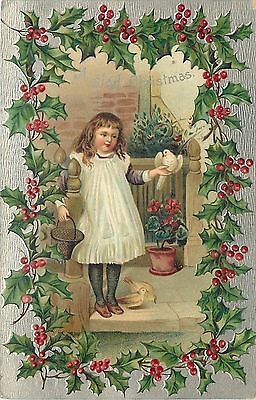 Christmas~Girl~Pinafore~Holds White Dove~Arm Around Post~Holly Frame~Silver~Emb