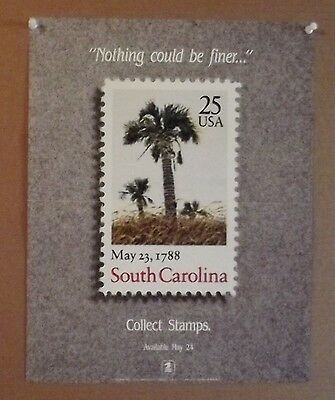 1988 USPS office poster--Collect Stamps--25c South Carolinan 11x14