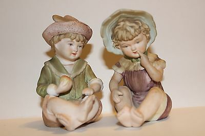Bisque Boy and Girl Piano Baby Doll Figurines #6682