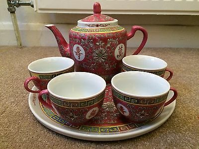 Large Red Chinese Teapot Set With Tray And 4 Cups - New
