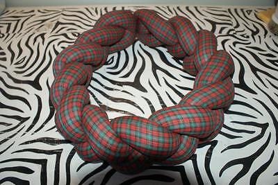 Calico Fabric Braided Cloth Wreath in Green and Red Plaid - HANDMADE!