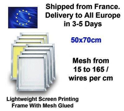 70x50cm Lightweight Silk Screen Printing Frame with Mesh   15 to 165 Wires / cm