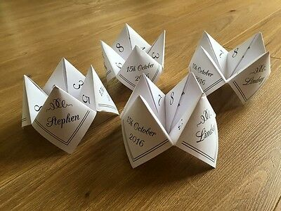 Paper Fortune Tellers. Old School Wedding Table Game. Printed Cootie Catchers