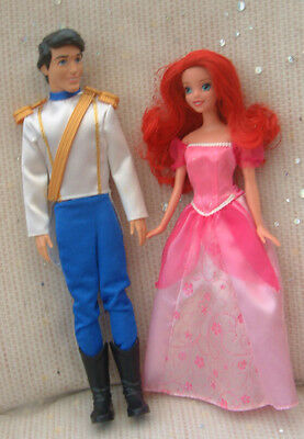 Barbie size Disney dolls - LITTLE MERMAID - ARIEL & ERIC  - clean played with
