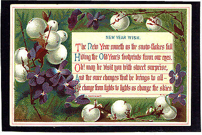 Marcus Ward Victorian New Year Greeting Card Mistletoe Violets Religious Text