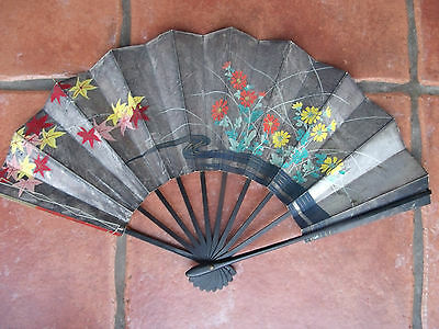 Vintage Chinese Hand Fan Rickshaw Apple Blossom Costume Accessories