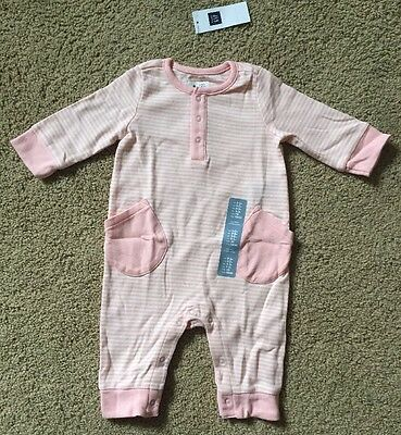 Baby Girl 0-3 Month Baby Gap Pink & White Striped One Piece Romper