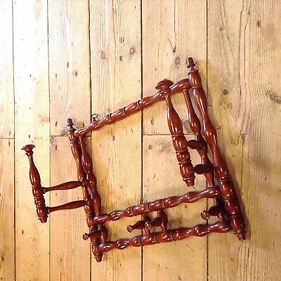 Vintage Aesthetic Wood French Campaign Folding Wall Clothes Hanging Rack