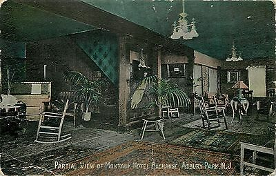 Asbury Park Upright Piano, Rocking Chairs~Montauk Hotel~Wallpaper~c1910 Postcard