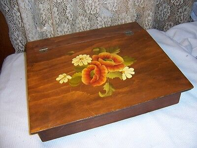 Vintage Handmade Wood Painted Flowers Letter Writing Slope Lap Desk Box