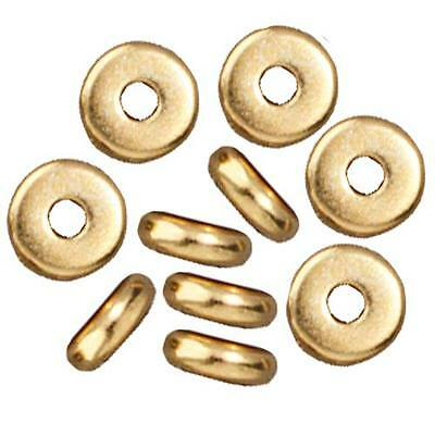 Bright 22K Gold Plated Disk Heishi Spacer Beads 5mm X20