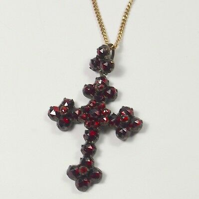 Amazing Vintage Cross Pendant Necklace GARNET Chain in Silver