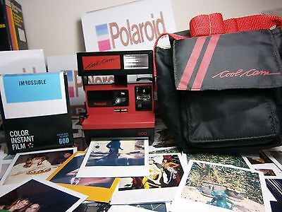 RARER FILM INCLUSIVE + CASE Polaroid RED COOL CAM +READY TO SHOOT PACKAGE++