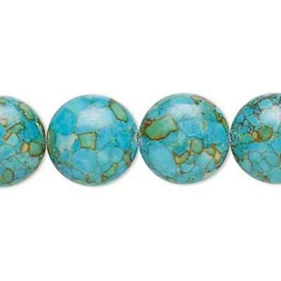 6697 Turquoise assembled beads, discs. 14mm 15 inch  *UK EBAY SHOP*