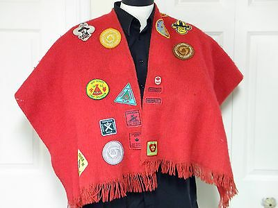 Vintage Boy Scout - Wolf Cub Red Wool Poncho with Badges - BSA