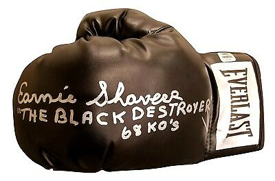 Earnie Shavers Signed Glove Black Destroyer 68Ko's Quote Shavers Holo