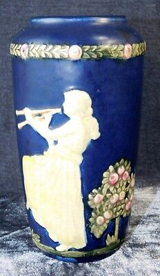 Vtg WELLER BLUE WARE OVOID GRECIAN MAIDEN Lady Playing Pipes VASE