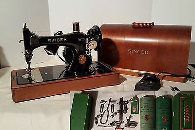 Clean Collectors Portable Singer Electric Sewing Machine 1949 Serial# EF 177934
